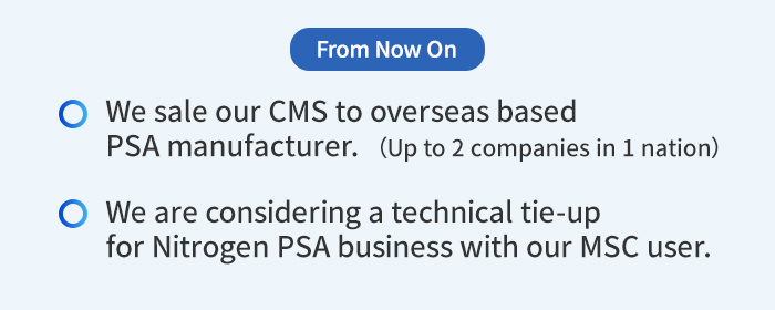 From Now On: We sale our CMS to overseas based PSA manufacturer. (Up to 2 companies in 1 nation) / We are considering a technical tie-up for Nitrogen PSA business with our MSC user.