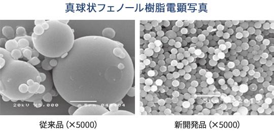 真球状フェノール樹脂電顕写真